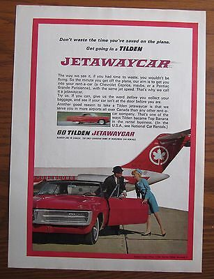 1967 Canadian Car Ad Pontiac Grand Parisienne Tilden Rent A Car Air Canada Jet