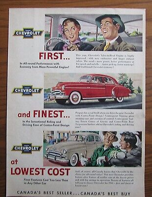 1950 Canadian Car Ad Chevrolet First Finest And Lowest Cost Canada