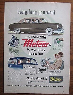 1950 Canadian Car Ad Ford Mercury Meteor Canada