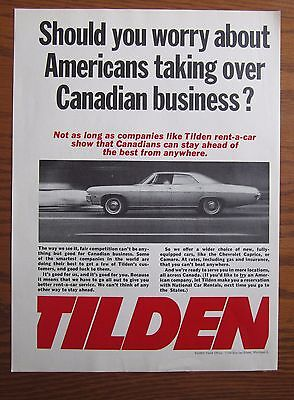 1968 Canadian Car Ad Chevrolet Impala Tilden Rent A Car Ad