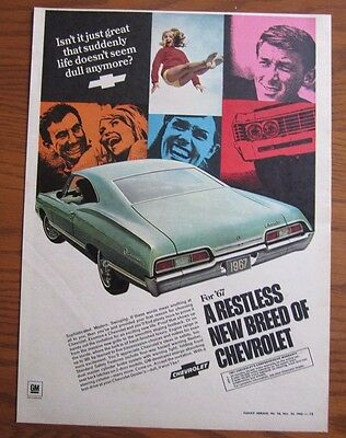 1967 Canadian Chevrolet Impala Car Ad  Canada Advertisement