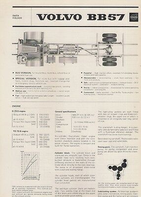 Volvo BB57 Bus Chassis Specification 1974 UK Market Foldout Brochure