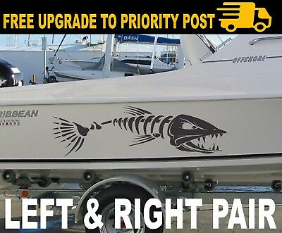 BIG Fish Boat decals PORT AND STARBOARD pair STICKERS 900mm