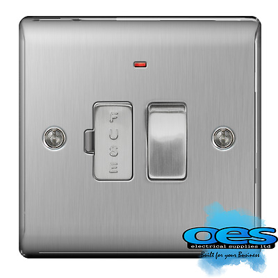 BG Nexus NBS52 Brushed Steel/Satin Chrome Switched Fused Spur with Neon