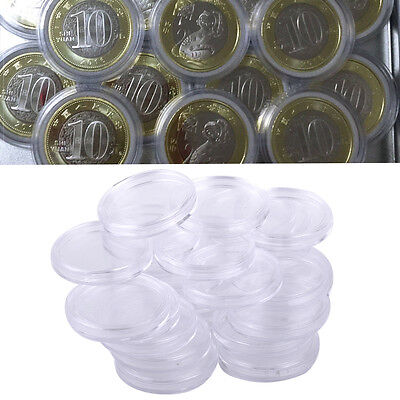 25pcs 38mm Clear Round Cases Airtight Capsule Morgan Coin Holder Storage Plastic