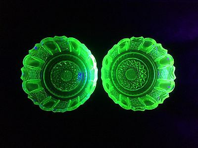 Vintage 1930's Uranium Depression Glass Hobnail Cut Decorated Bowls