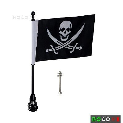 Black Motorcycle Rear Luggage Rack Mount Flag Pole With Skull Flag For Harleys