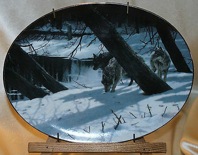Bradford Exchange Collector Plate Wolf Moonlight Shadows Winter Shadows #241B