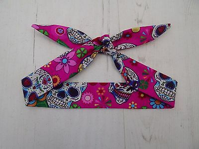 Baby Head Scarf - Pink Mexican Candy Skull  - Tattoo Bandana Hair Rockabilly