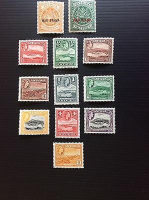 Antigua 1916-18 War Stamps,1938 KGV1 and 1952 QE2nd views (lightly mounted mint)