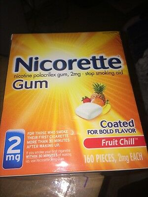 Nicorette Nicotine Gum Fruit Chill 2 milligram Stop Smoking Aid 160 count