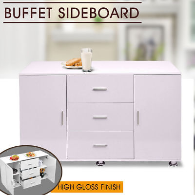 White Buffet Sideboard High Gloss Storage Cabinet Dresser Table Cupboard NEW