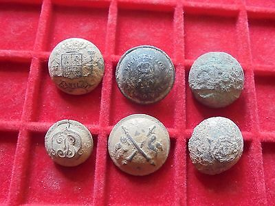 Superb set of 6  military  buttons   , Napoleonic wars !!!! , ref 4