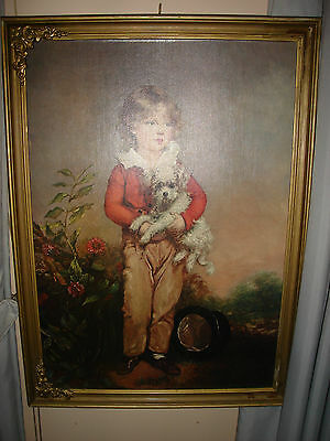 VINTAGE PAINTING MASTER SIMPSON BY ARTHUR DEVIS - BOY WITH TOP HAT & DOG 20'x28'