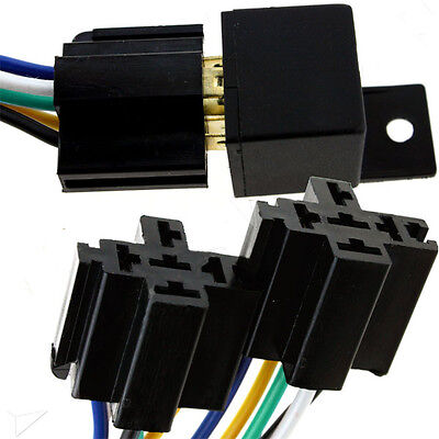 5pcs 12 30A 5-Pin Wire Relay Socket Harness Connector For Car Headlight Horn
