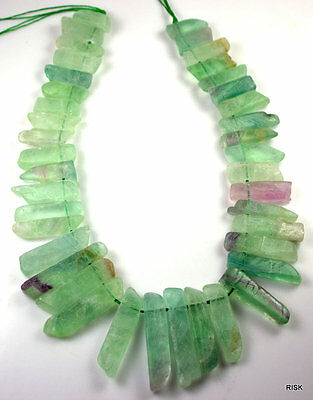 NG03 - Fluorite Gemstone Large Fan Beads - Green/Purple - 20x50x5mm x 1 strand