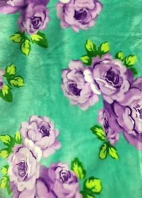 Betsey Johnson Oversized Throw Blanket Green Purple Floral Rose Plush 50x70""