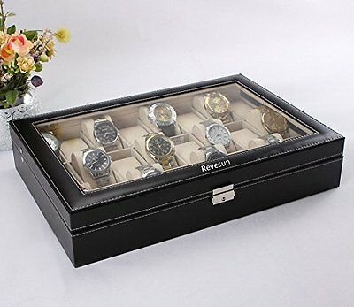 Revesun Watch Box Large 24 Mens Black Leather Display Glass Top Jewelry Case Org