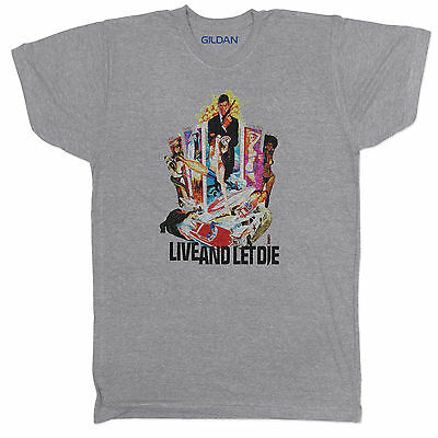 James Bond Inspired Live and Let Die Movie Film Crime Horror Retro T Shirt