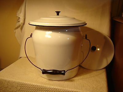 Enamel Chamber Pot & 2 Lids Wire & Wood Handle White With Black Trim