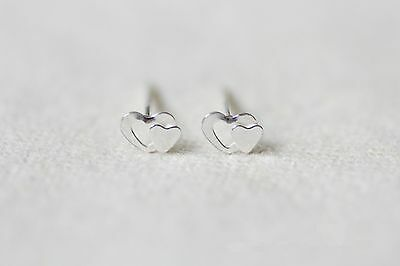 Shiny Solid 925 Sterling Silver Small Cute Closer Love Heart Stud Earrings Gift