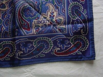 LIBERTY BLUE VINTAGE SCARF 1980s, 26 inches square