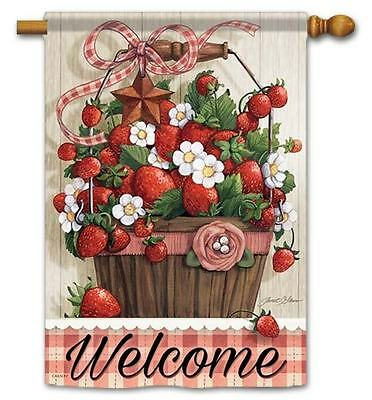 "Summer Strawberries Welcome House Flag- 28"" x 40"" - 2 Sided Message"