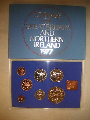 1977 Royal Mint Coinage of GB & N Ireland 7 uncirculated coins in case