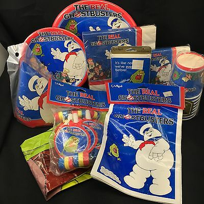 Vtg 1986 Real Ghostbusters Party KIT Napkins Cups Plates Bags Invitations +++