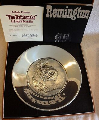"""""""The Rattlesnake"""" Frederic Remington Sterling Silver Collector Plate,22 Troy Oz"""