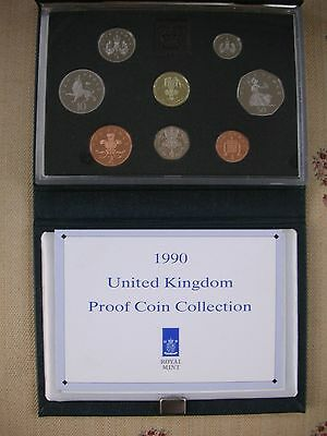 1990 Royal Mint UK Proof Coin Set inc 2 x 5p. 8 coins in all