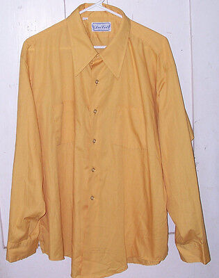 Dee Cee Men's Long Sleeve SHIRT Yellow 18 34 BIG Collar Gold VTG Made in USA