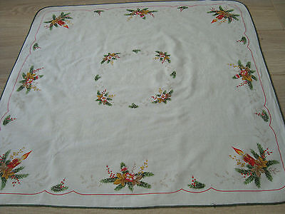 Vintage West Germany Christmas Tablecloth Table runner w/ Xmas Mistletoe