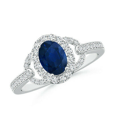 Vintage Style Oval Blue Sapphire And Diamond Halo Engagement Ring 14k White Gold