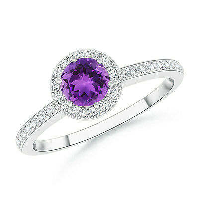 Round Amethyst With Diamond Halo Engagement Ring 14k White Gold Size 3-13