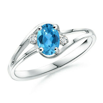 Solitaire Oval Natural Blue Topaz With Diamond Engagement Ring 14k White Gold