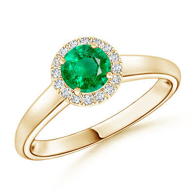 Round Natural Emerald With Diamond Halo Engagement Ring 14k Yellow Gold Size 6