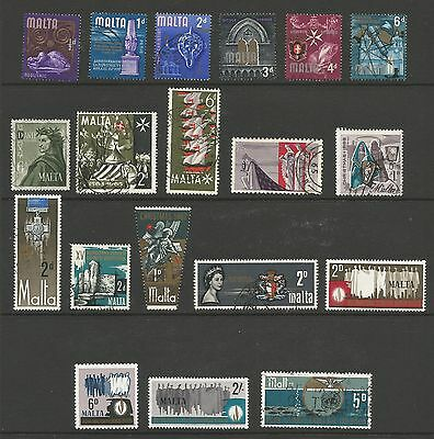 Malta Stamps #312//#401; #B1-6; #J11-13, J15; #MR1-2; 2 pg 30 stamps CV $16 L189
