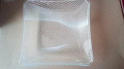 Chance glass square dish white zig zag clear glass immaculate condition
