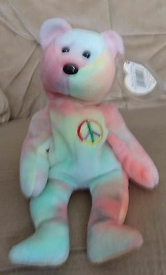 TY Beanie Baby - Retired - Peace - Bear - with both tags