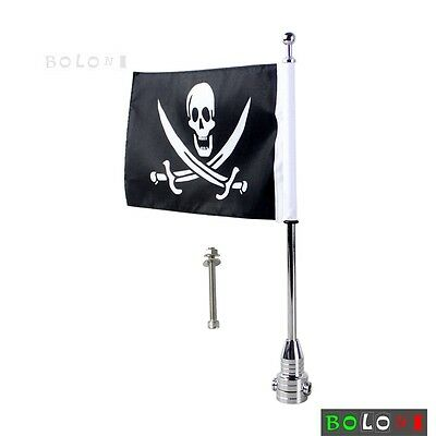 Custom Motorcycle Chrome Rear Side Mount Flag Pole with Skull Flag For Harleys
