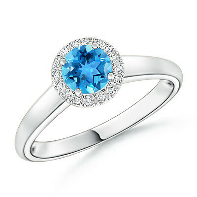 Classic Round Blue Topaz With Diamond Halo Engagement Ring 14k White Gold