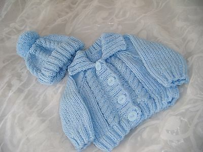 Hand Knitted Baby Aran Jacket And Hat Set Pale Blue Cable Age Approx 0-3 Months