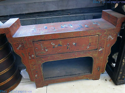 "19"" China old handwork lacquerware wood fine picture tea table Cabinet statue"