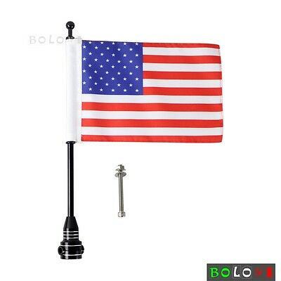 Motorcycle Black Rear Side Mount Flag Pole with USA Flag For Harleys Universal