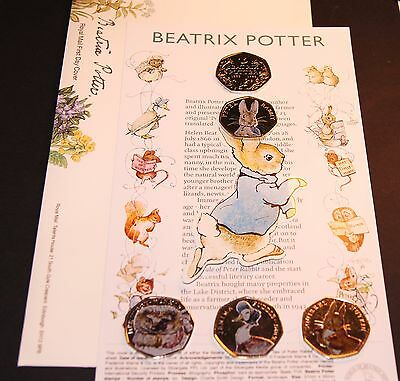 NEW Beatrix Potter 50p Full Coin COLOUR DECAL Peter Rabbit +First Day Cover GIFT