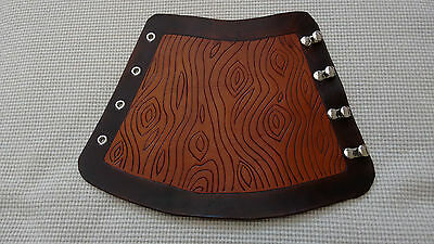 Hand Carved Leather Archery Arm Guard / Bracer, Traditional / LARP - Wood Grain