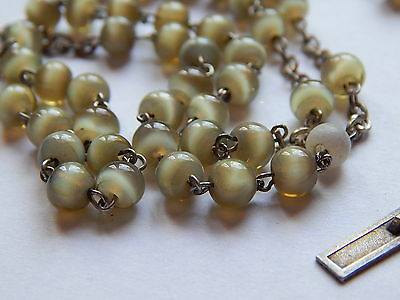 ANTIQUE  ROSARY , Collectible ,Christian ,Glass beads and sterling silver