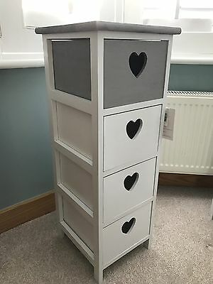 Grey and white narrow storage drawers for hall bedroom or living room. Heart