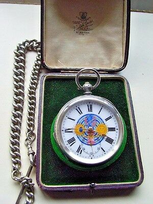 Antique Solid  Silver Masonic  Pocket Watch & Metal Albert Chain Fitted Box Fwo